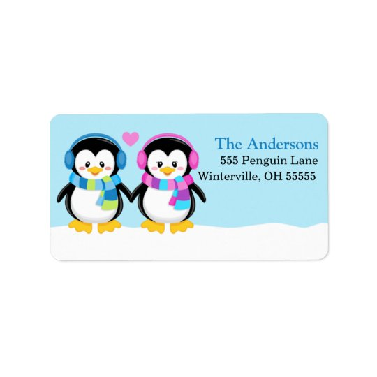Loveable Winter Earmuff Penguins Address Labels