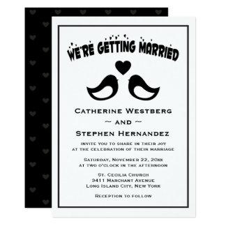 Lovebird Black And White Wedding 13 Cm X 18 Cm Invitation Card