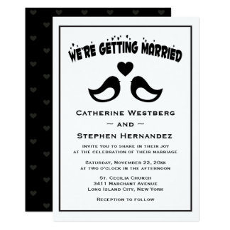 Lovebird Black And White Wedding Card