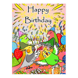 Lovebird budgie cockatiel parrotlet happy birthday postcard