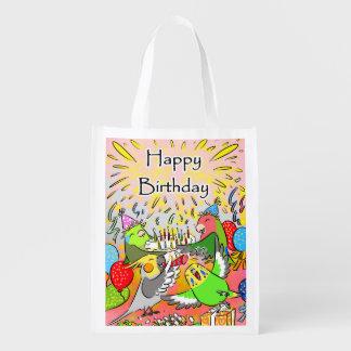 Lovebird budgie cockatiel parrotlet happy birthday reusable grocery bag