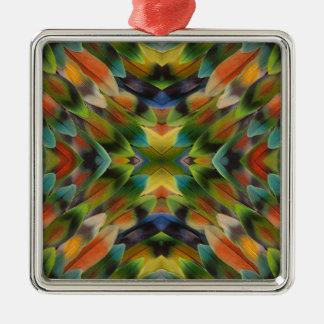Lovebird feather kaleidoscope christmas ornament