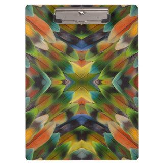 Lovebird feather kaleidoscope clipboard