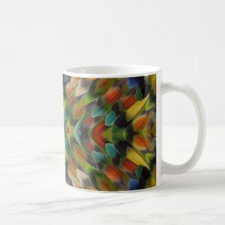 Lovebird feather kaleidoscope coffee mug