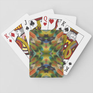 Lovebird feather kaleidoscope playing cards