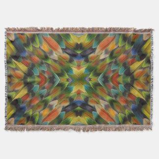 Lovebird feather kaleidoscope throw blanket