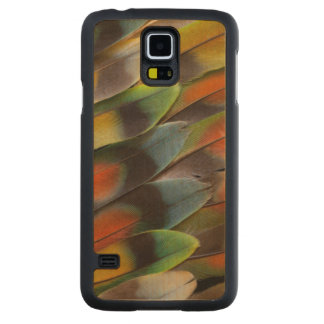 Lovebird Feather Pattern Carved Maple Galaxy S5 Case
