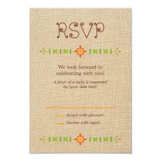 Lovebird Owls on Burlap Wedding RSVP 9 Cm X 13 Cm Invitation Card