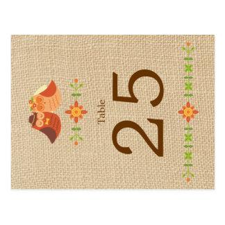 Lovebird Owls on Burlap Wedding Table Number Postcard