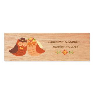 Lovebird Owls on Wood Skinny Wedding Favor Tags Business Card