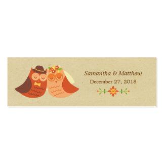 Lovebird Owls Skinny Wedding Favor Tags Business Card Template