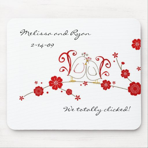 Lovebirds and Cherry Blossoms Mouse Pad
