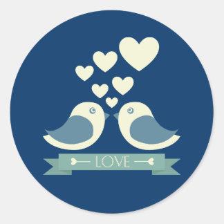 Lovebirds and Hearts Blue Love Sticker / Seal Round Sticker