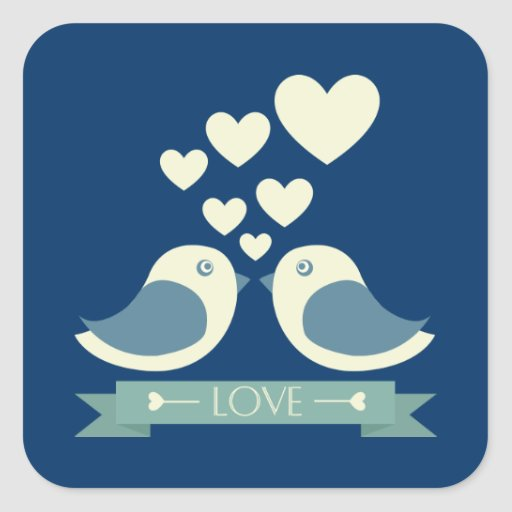 Lovebirds and Hearts Blue Love Sticker / Seal Stickers