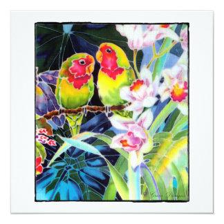 Lovebirds and Orchids Tropical Card Invitation