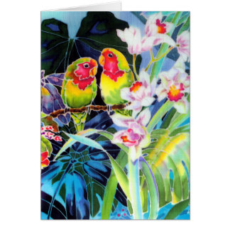 Lovebirds and Orchids Tropical Print Cards