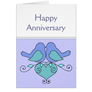 Lovebirds  Anniversary Birds with Floral Heart Card
