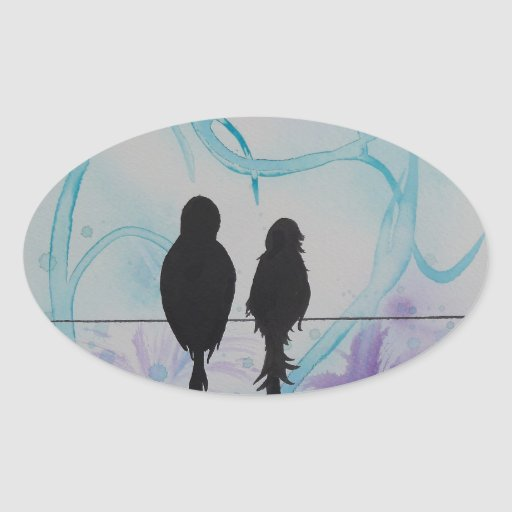 Lovebirds Anniversary Teal and Purple Oval Stickers