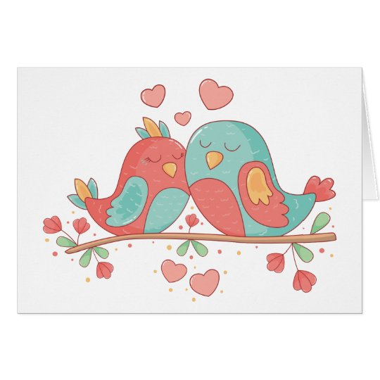 Lovebirds Blue Green Turquoise Wedding Card