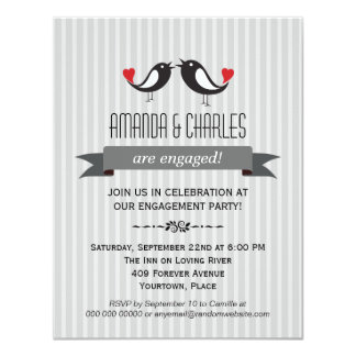 Lovebirds  Gray Engagement Party Invitation