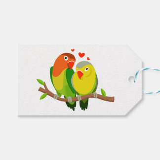 Lovebirds Green & Yellow Wedding Birds, Love Gift Tags