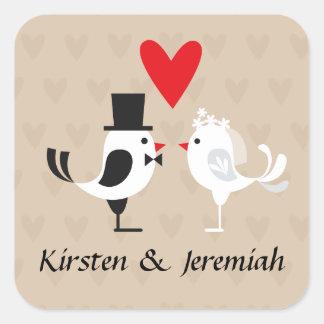 Lovebirds & Heart Tan Personalized Wedding Sticker