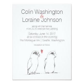 Lovebirds Illustration Wedding Invitation