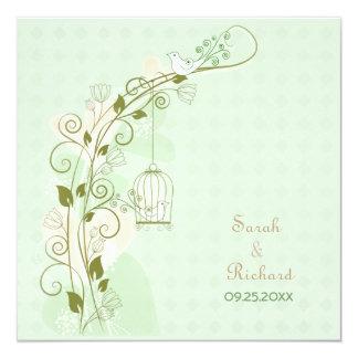 Lovebirds Mint Wedding Invitation