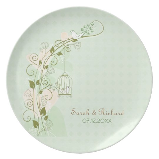 Lovebirds Mint Wedding - Keepsake Plate