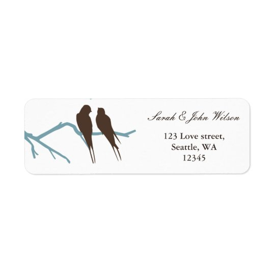lovebirds mocha wedding ,return address label