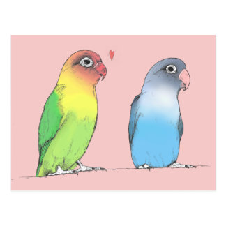 Lovebirds of a Different Colour Postcard