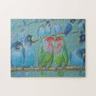 Lovebirds oil pastel jigsaw puzzle