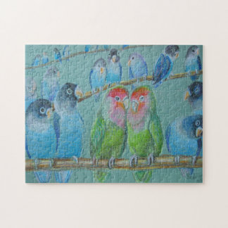 Lovebirds oil pastel puzzles