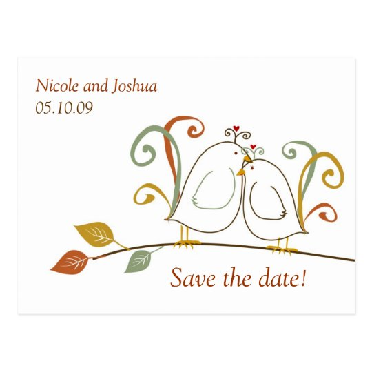 Lovebirds on Branches Save the Date Postcard