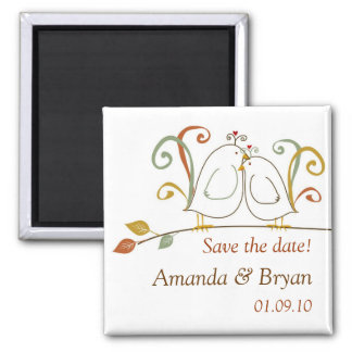 Lovebirds on Branches Save the Dates Square Magnet