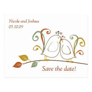 Lovebirds on Branches Save the Dates Post Cards