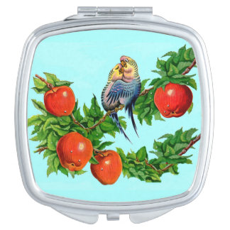 lovebirds or love birds or bird lovers vanity mirror