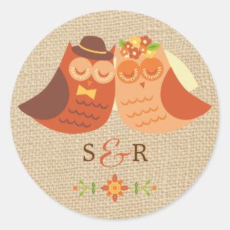 Lovebirds Owl on Burlap Wedding Sticker