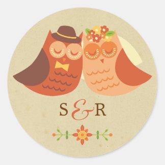 Lovebirds Owl Wedding Sticker
