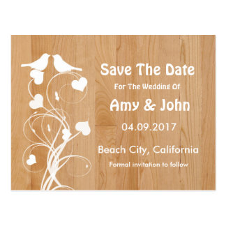 Lovebirds personalized wedding save the date postcard