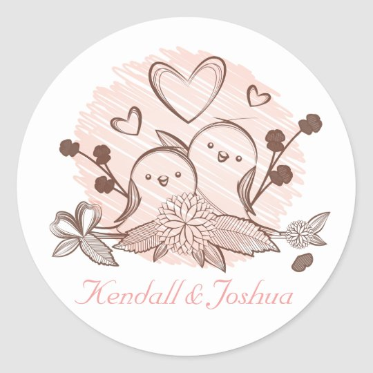 Lovebirds Pink And Brown Wedding Bridal Shower Classic