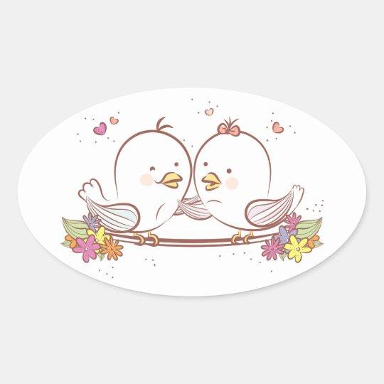 Lovebirds Pink And Brown Wedding Love Oval Sticker