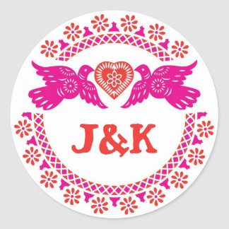 Lovebirds pink and red round sticker