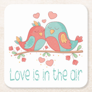 Lovebirds Pink, Blue Green Turquoise Wedding Love Square Paper Coaster