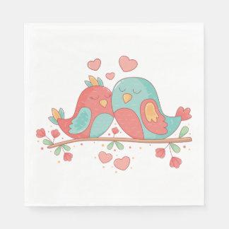 Lovebirds Pink, Blue Green Turquoise Wedding Paper Serviettes
