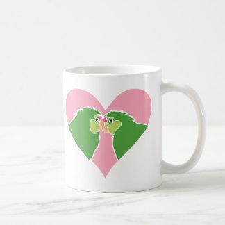 Lovebirds Pink Heart Green Parrots Clipart Coffee Mug