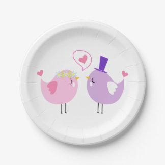 Lovebirds Pink  Purple Wedding, Bridal Shower Love Paper Plate