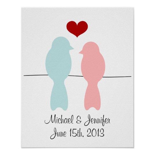 Lovebirds print - customise with names and date
