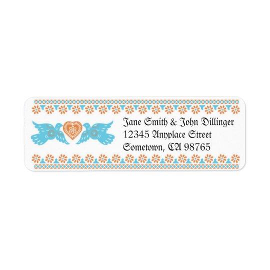 Lovebirds Return Address Label - Aqua & Orange