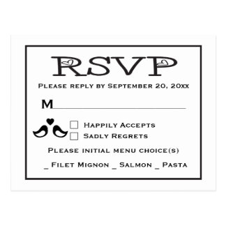 Lovebirds RSVP Black And White Wedding Postcard